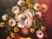 Original Signed Oil Painting Canvas White & Yellow Flowers Painted Wood Frame