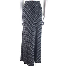 Laura Ashley  Maxi Skirt Long Black & Beige Tartan Check UK 12