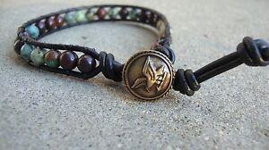 Men's Multi Gemstone 6mm Bead Bracelet Black Leather Wrap Bracelet handmade USA
