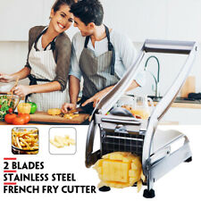 Home French Fry Vegetable Potato Cutter Slicer Stainless Steel Machine 2 Blades