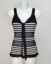 PRINCIPLES black white Striped velvet detail Sleeveless Tie V neck Top cami 16