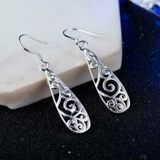Women Simple Jewelry Bohemia Fashion Silver Hollow Drop k Carved Water Earr CL