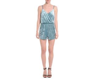 NWT Romeo & Juliet Couture Romper Womens Medium Green Teal Velvet Sleeveless NEW