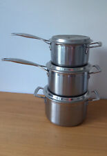 Le cruset Stainless Steel Saucepan Set Of Three With Lids