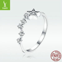 Star Charm S925 Sterling Silver Open Finger Ring Women Wedding Crystal Jewelry
