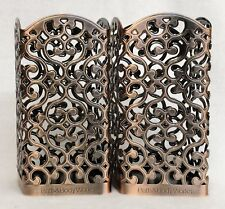 2 Bath Body Works BRONZE HEART SWIRL Foaming Hand Soap Holder Decor Sleeve Metal