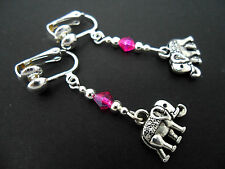 A PAIR TIBETAN SILVER DANGLY ELEPHANT & PINK CRYSTAL  CLIP ON EARRINGS. NEW.