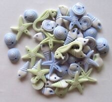 Blue White Green Seashells Conch Starfish Seahorse Plastic Beads, NEW