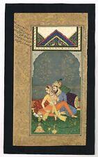 Indian Miniature Art Of Shahjahan & Mumtaz Mahal Love Scene On Paper Gouache Art