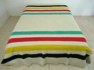 Vintage HUDSON'S BAY 4-Point Striped Wool Blanket, Extra Long Extra Heavy; Good!