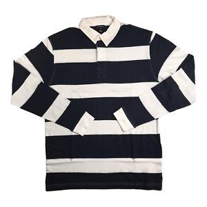 Rugby Long Sleeve Men's Shirt MEDIUM Stripe Navy White Polo Burnside Soccer A04