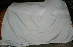 NEW!  Queen Size Bed   Bed Skirt   gray stripes & white  perfectly new condition
