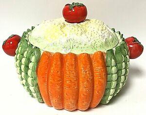 Taste Setter by Sigma Ceramic Majolica Farm Vegetable Lidded Soup Tureen