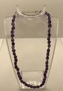"""Amethyst Beaded Strand Necklace With 925 Silver Clasp & Extender 18"""" to 20"""" Long"""