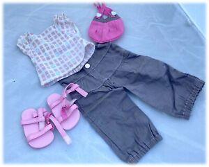 "OG Summer Outfit Pink Sandals Gray Pants Top Bag 18"" Dolls American Girl"