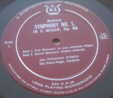 Brahms Symphony No. 1 Gruner-Hegge National Academy Record Club ‎ NA3 LP 50's