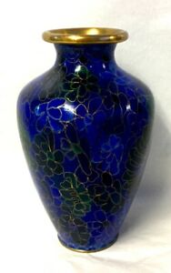 Very Pretty Cloisonné Small Vase Decorated With Blue Flowers, 13 cm High