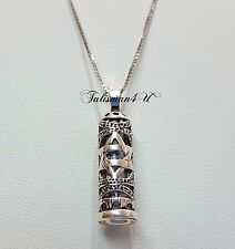 "STAR OF DAVID MEZUZAH Case Silver Pendant with SCROLL Shema Israel & 18"" Chain"