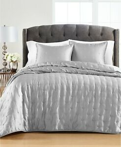 Martha Stewart Collection Tufted Satin Twin Quilt and Sham Collection Gray NWT