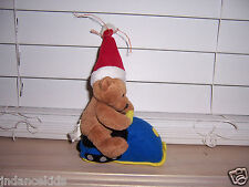 1999 GANZ Plush Bear In Christmas  Santa Hat Go Go Snowmobile