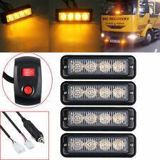 4PCS LED Amber Light Emergency Warning Strobe Flashing Yellow Bar Hazard Grill