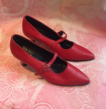 biba vintage original 70s red pointed toe real leather mary jane shoes 4 37