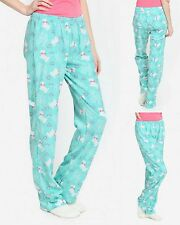 Womens PJ Pajama Bottoms Sleep Lounge Pants Blue Puppy Dog Love Print Medium M