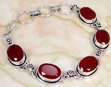 Ruby & 925 Silver Handmade Lovely Bracelet 215mm & gift-box