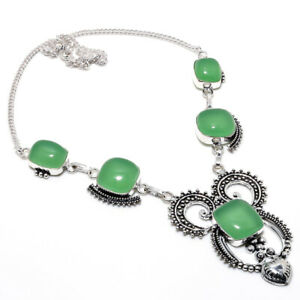 """Green Chalcedony Handmade Ethnic Style Jewelry Necklace 18"""" LL"""