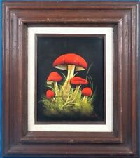 "Vintage Still Life ""Mushrooms"" Oil Painting on Board Signed by M. Lok"