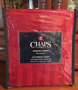 "Ralph Lauren Red Chaps Damask King Bedskirt 500 TC Pima Cotton 15"" Drop  $85"