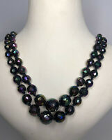 Vintage 2 Strand Necklace Austrian Crystal 1950s 1960s Ajustable Aurora Borealis