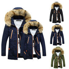 Fashion Warm Winter Mens Soft Fur Hooded Jacket Casual Thicken Long Parkas Coat