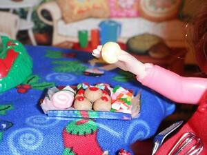 Tray of Christmas Treat Cookies 4 Santa fit Fisher Price Loving Family Dollhouse