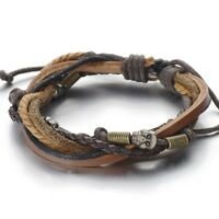 Skulls Multi-strand Brown Leather Bracelet Men Women Tribal Leather Wristband