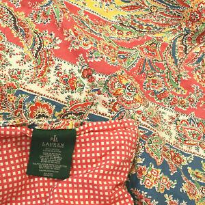 LAUREN RALPH LAUREN Pink Paisley Check Reversible Cotton COMFORTER FULL QUEEN