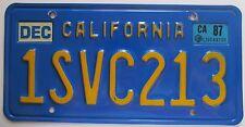 California 1987 BLUE License Plate HIGH QUALITY # 1SVC213