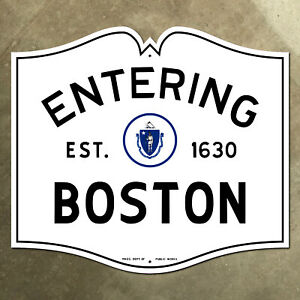 entering Boston Massachusetts city limit highway marker road sign 1950 18x16