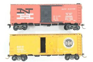 HO Athearn 40ft AAR SD Box Cars, New Haven and Bessemer & Lake Erie, Kadees