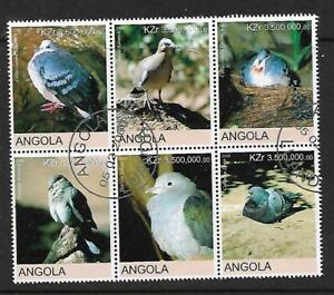 Angola Birds Block of 6 Complete CTO