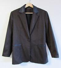 Ashley Fogel Sz 12 Brown Jacquard Black Leather Collar Pocket Trim Blazer Jacket