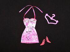 Barbie Doll Clothes Adorable Pink Flowered Dress. Mattel. Shoes, Hanger (B69)