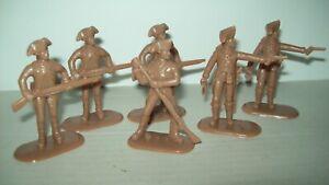 Lot of six Armies in Plasyi Rev War American Militia in light brown color