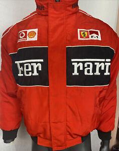 Rare Michael Schumacher FERRARI Puff Jacket OFFICIAL Size L In Good Condition