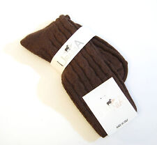 Urania Italy Ladies Boot Crew  Socks Angora Blend Solid Cable Brown - NEW