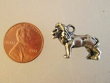 USA Lion Charm - LOT Qty 4 - Silver Pendant Necklace Africa African Cat