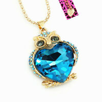 Women's Big Love Heart Crystal Owl Pendant Chain Betsey Johnson Animal Necklace