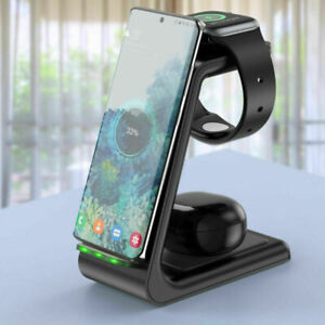 Fr Samsung/iPhone Mobile Phone Watch 3In1 Wireless Charger QI Fast Charging Base