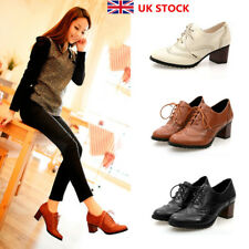 Women Vintage Lace Up Oxford Brogue Ladies Mid Heels Casual Formal Shoes Size