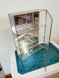 """Global Art BRASS and GLASS Mirrored CURIO CABINET/ Table Top  14"""" tall ~ Lovely!"""